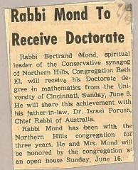 Rabbi Mond of Northern Hills Synagogue (Beth El) Receives his Doctorate Degree 1963 (Cincinnati, OH)