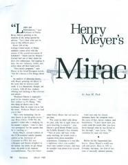 """Henry Meyer's Miracle"" - article published in Horizons"