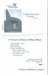 """A Concert in Memory of Henry Meyer"" - Univerisity of Cincinnati: College-Conservatory of Music"