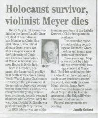 """Holocaust Survivor, violinist Meyer dies"" - newspaper clipping"
