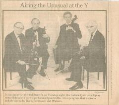 "Advertisement ""Airing the Unusual at the Y"" - The New York Times"