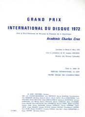 """Grand Prix International du Disque 1972"" - invitation and program"