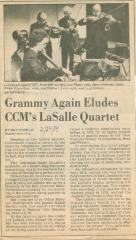 """Grammy Again Eludes CCM's LaSalle Quartet"" - newspaper clipping"